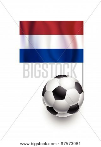 Illustration Of Soccer Balls Or Footballs With  Pennant Flag Of Netherlands Country Team