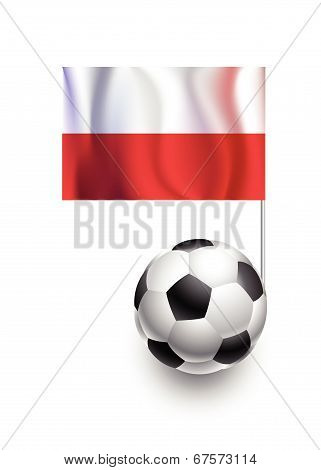 Illustration Of Soccer Balls Or Footballs With  Pennant Flag Of Poland Country Team