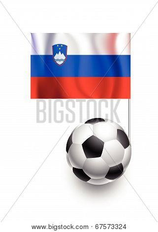 Illustration Of Soccer Balls Or Footballs With  Pennant Flag Of Slovenia Country Team