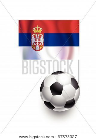 Illustration Of Soccer Balls Or Footballs With  Pennant Flag Of Serbia Country Team