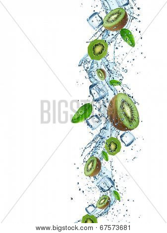Fresh Kiwi with water splash over white background