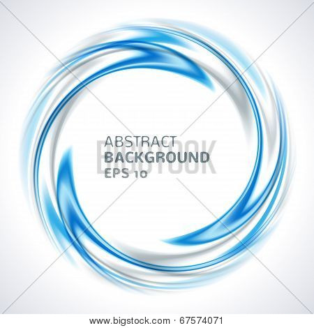 Abstract blue and silver swirl circle bright background