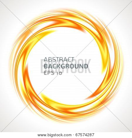 Abstract orange and yellow swirl circle bright background