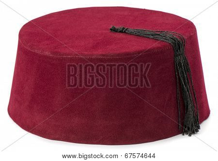 Traditional Turkish hat called fez isolated on white background