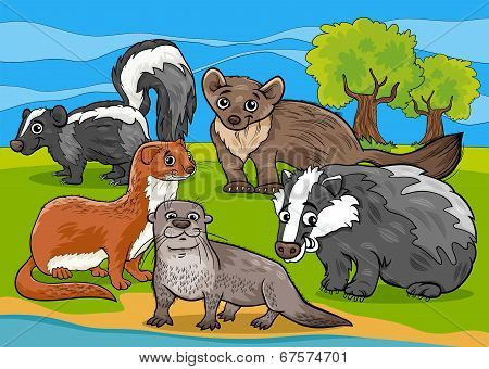 Mustelids Animals Cartoon Illustration