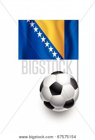 Illustration Of Soccer Balls Or Footballs With  Pennant Flag Of Bosnia And Herzegovina Country Team