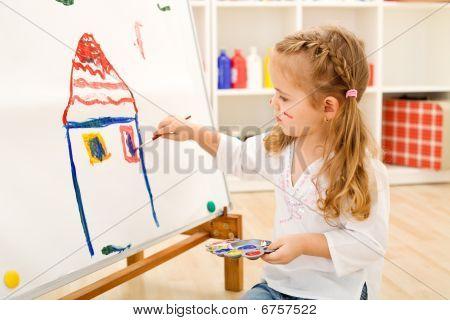 Little Artist Girl With Her Masterpiece
