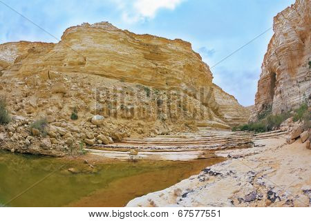 Picturesque valley in the desert. Ein Avdat Canyon, the route start