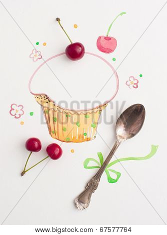vintage spoon and painted watercolor cupcake