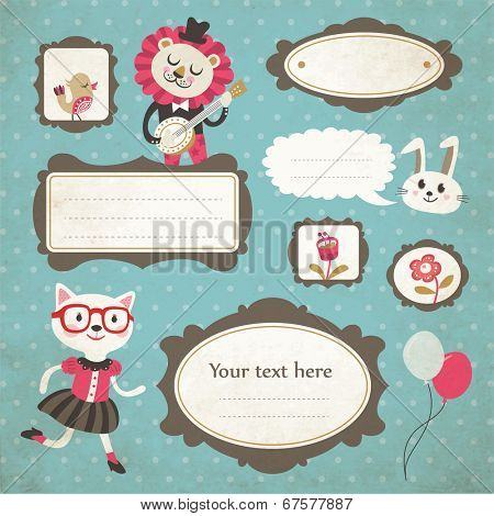 Cute cartoon animals and vintage frames