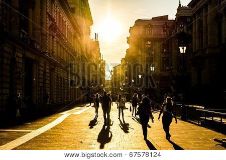 Tourists Visiting Downtown Bucharest At Sunset