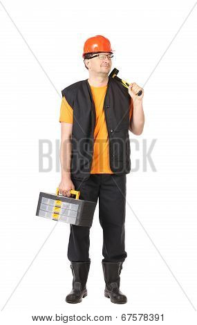 Handyman with toolbox.