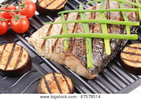 Grilled fish and vegetables.