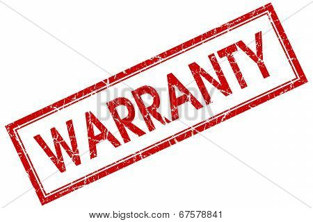 Warranty Red Square Grungy Stamp Isolated On White Background