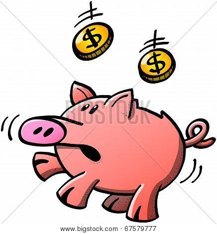 Piggy bank catching dollar coins