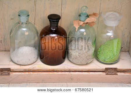 Chemical Bottles In A Row