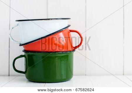 Three Bright Colorful Enameled Mugs