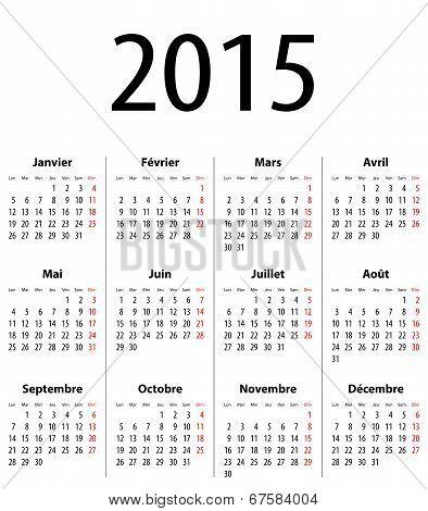 French Solid Calendar Grid 2015 Mf