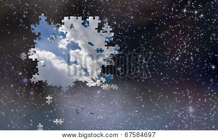Puzzle pieces fall from night sky revealing day Elements of this image furnished by NASA
