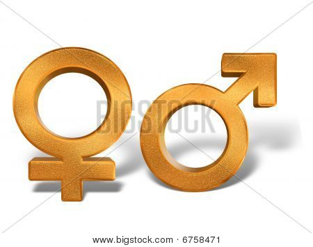 Golden Pattern Gender Sex 3D Symbols Isolated