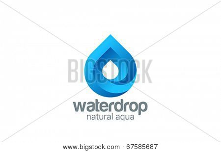 Water drop abstract infinite looped vector logo design. Waterdrop 3d creative shape. Liquid Droplet