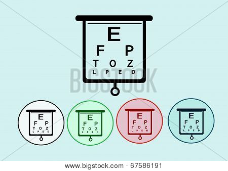 Eye icon and eye Chart Test Illustration
