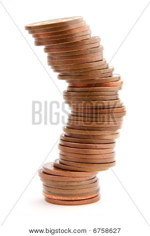 Precarious Pile Of Coins