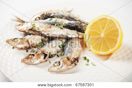 Grilled sardine fish served on a plate with lemon