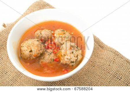 Xiu Mai,  Vietnamese Spicy Pork Meatballs In Tomato Sauce