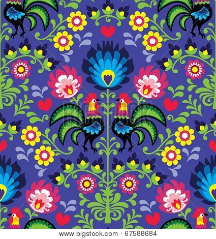 Seamless Polish folk art pattern with roosters