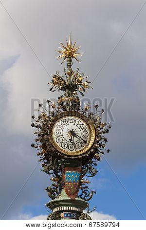 Clock In Amiens, Picardy, France