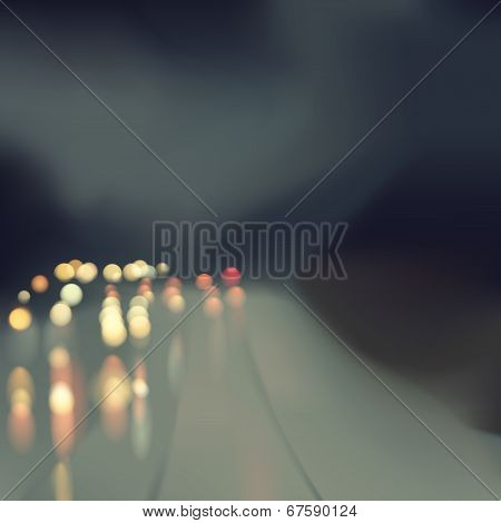 Bokeh Rain Road Illustration