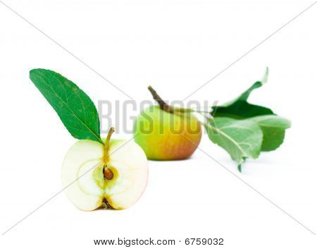 Half Of Young Apple With A Green Leaf