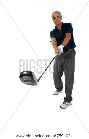 Golf Sport.  Golfer hitting Tee-shot isolated on white with room for your text. the Perfect Golf Image for all your Golfing needs.