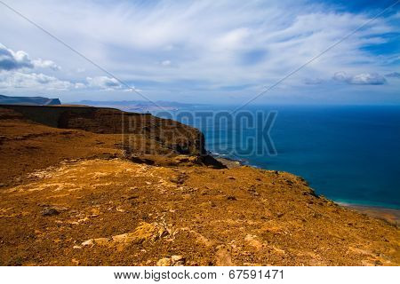 volcanic lava view and ocean, Lanzarote , Canary