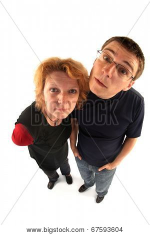 Adult woman and young man looking at you (fisheye lens)