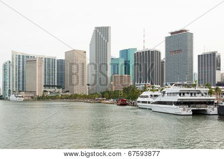MIAMI,USA - MAY 27,2014 : The skyline of downtown Miami with yachts on Biscayne Bay