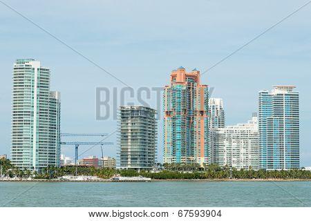 MIAMI,USA - MAY 27,2014 : Modern residencial buildings on Miami Beach