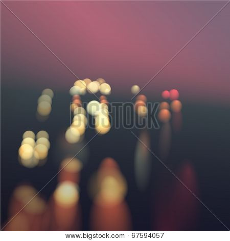 Blur Bokeh Sunset Road Illustration