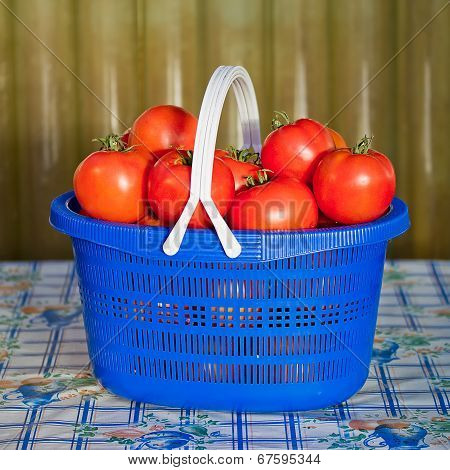 Blue Basket With Ripe Tomatoes
