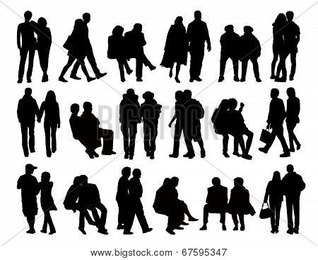 Big Set Of Couples Silhouettes