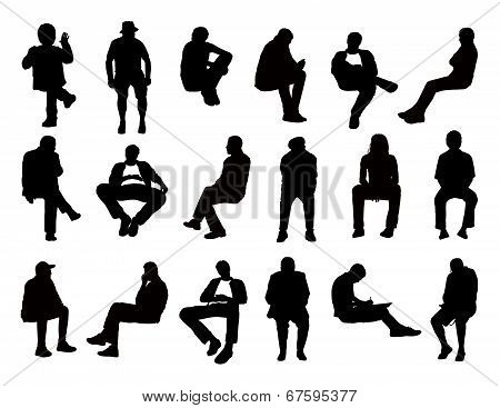 Big Set Of Men Seated Silhouettes