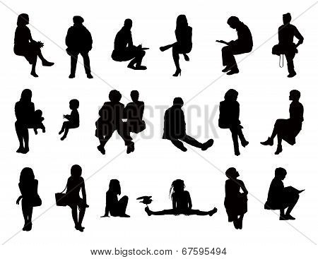 Big Set Of Women Seated Silhouettes