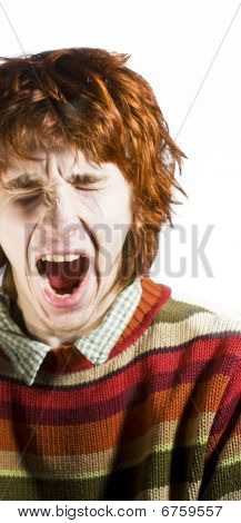 Red-haired Man Yawning