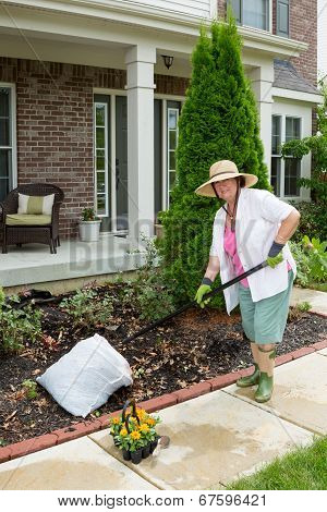 Elderly Lady Preparing A Flowerbed For Planting