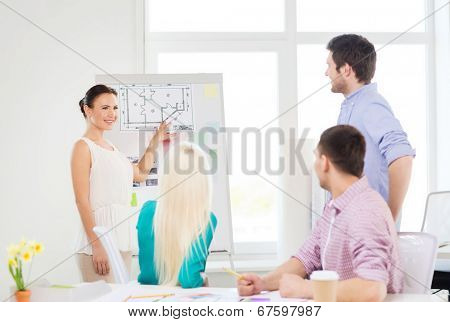education, interior design and office concept - smiling interior designers having meeting in office