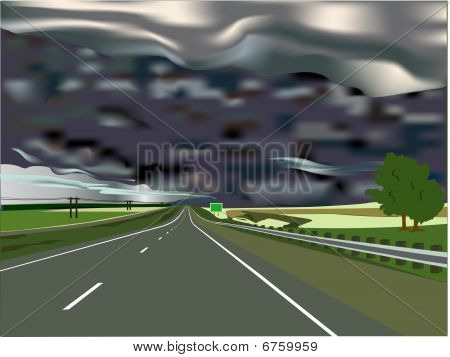 Sturm am Horizont mit interstate highway