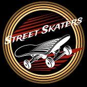 stock photo of skate board  - Skateboard in circle logo design on black background - JPG