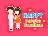 image of rakhi  - Beautiful greeting card design with cute little girl tying rakhi on her brother hand on pink background for the festival of Raksha Bandhan celebrations - JPG