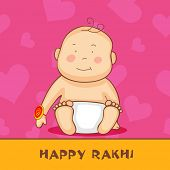 picture of rakhi  - Cute little baby with rakhi on pink and yellow background for the festival of Happy Rakhi - JPG